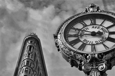 USA New York City Shopping Sightseeing Flat Iron Clock Photography