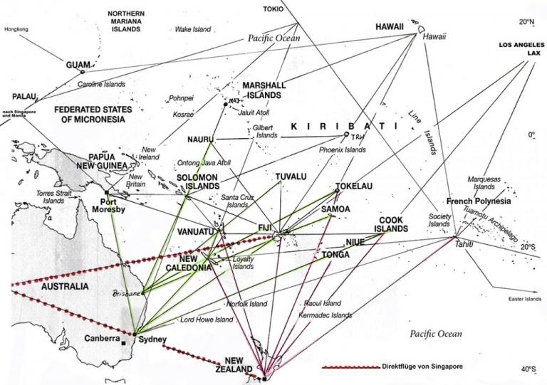 Flüge Südsee Karte